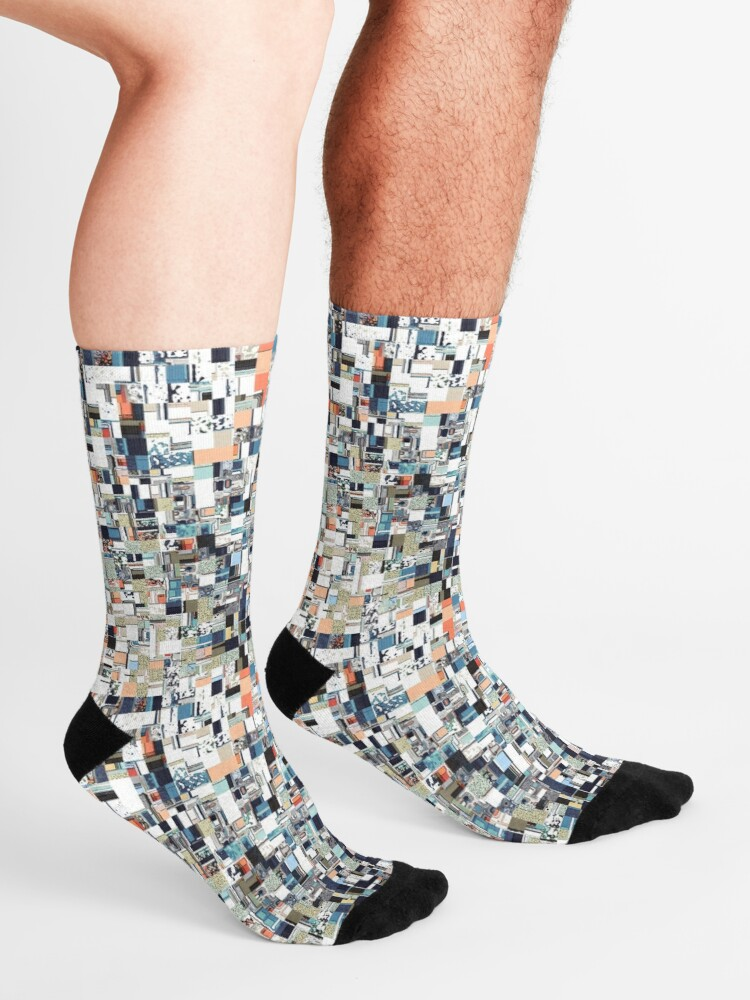 Alternate view of Colorful Chaotic Pattern Socks
