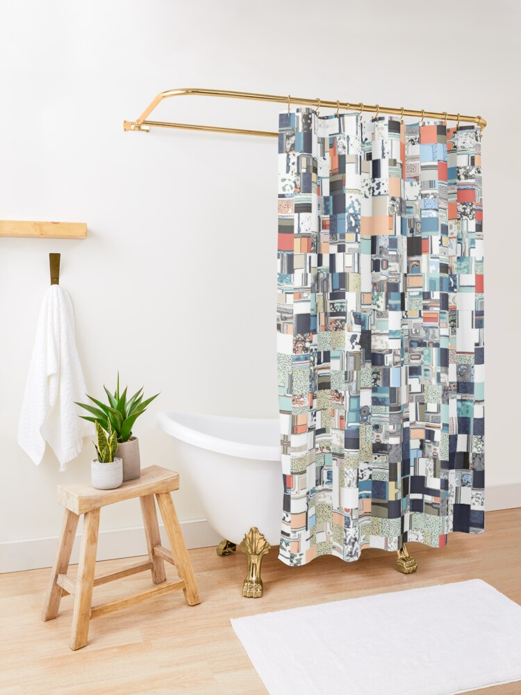 Alternate view of Colorful Chaotic Pattern Shower Curtain
