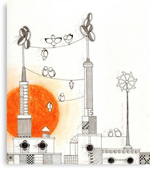 Dawn in the  Birdtown by BeataH