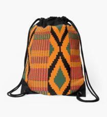 Kente print drawing Drawstring Bag