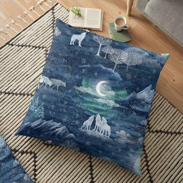Wolf moon Floor Pillow