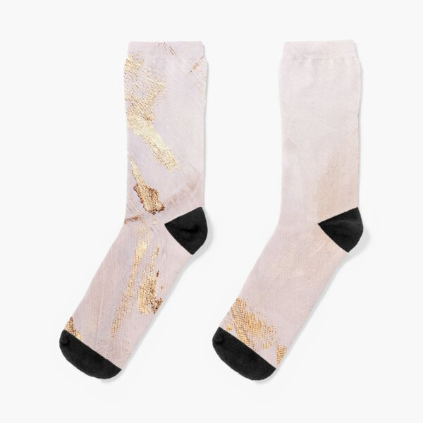 Rose Gold with Gold Strokes Texture Socks