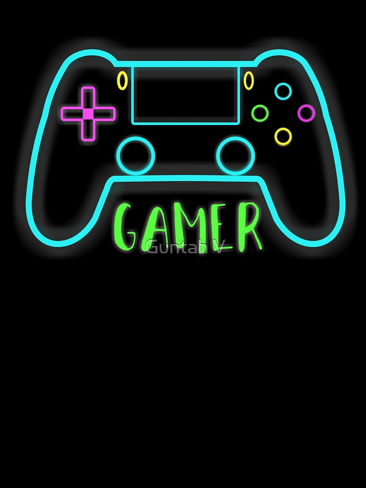 Neon Gamer Controller Neon Colors Kids T Shirt By Gut2000 Redbubble