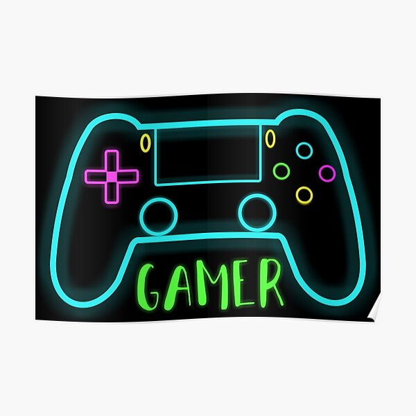 Neon gamer controller neon colors Poster