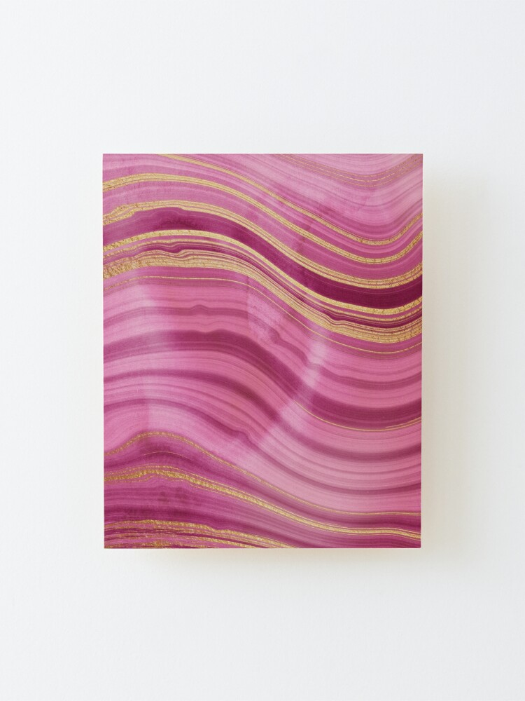 Alternate view of Pink Wavy Agate with Gold Stripes Mounted Print