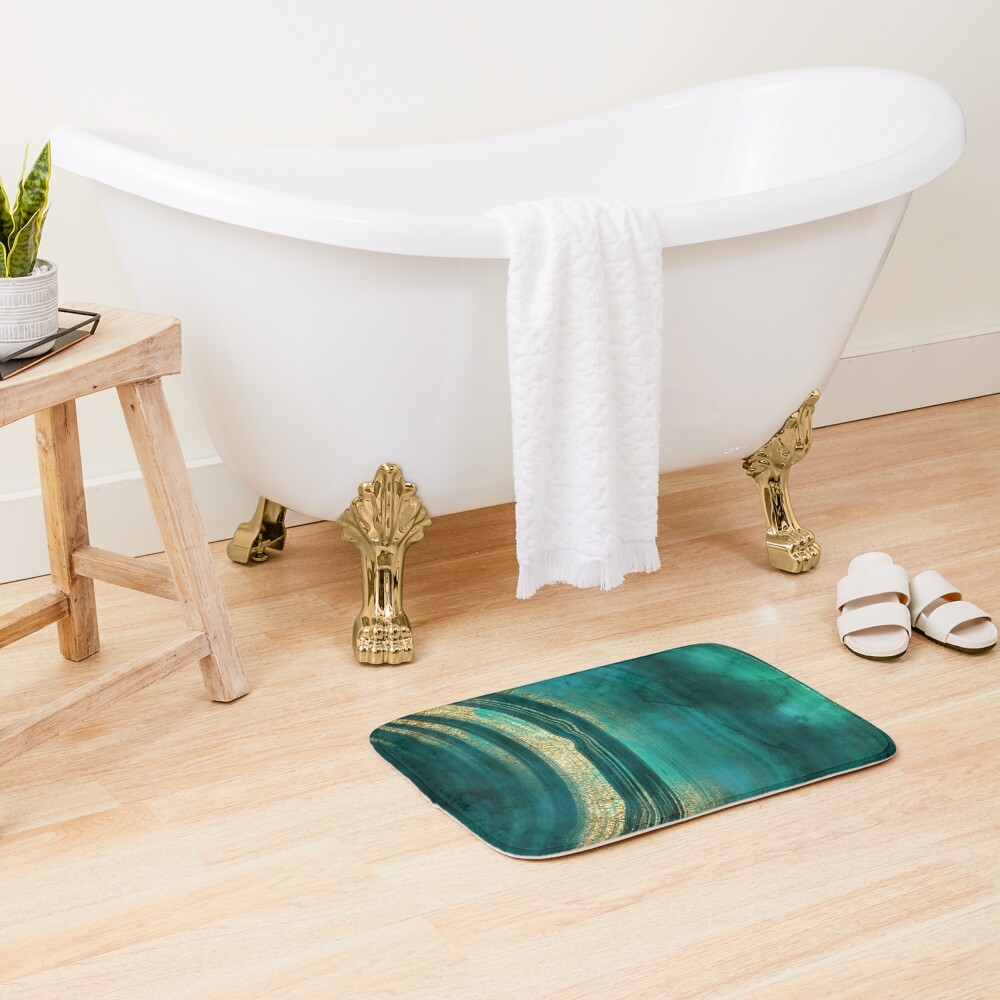 Gold Veined Green Luxury Marble  Bath Mat
