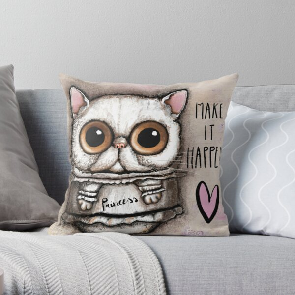 white persian cat with big eyes Throw Pillow