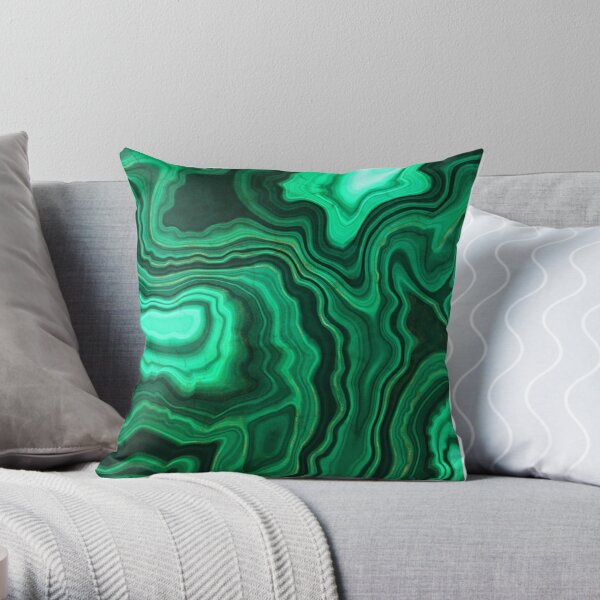 Malachite Green Marble with Gold Veins III Throw Pillow