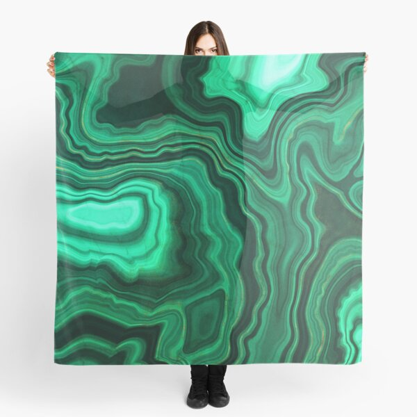 Malachite Green Marble with Gold Veins III Scarf