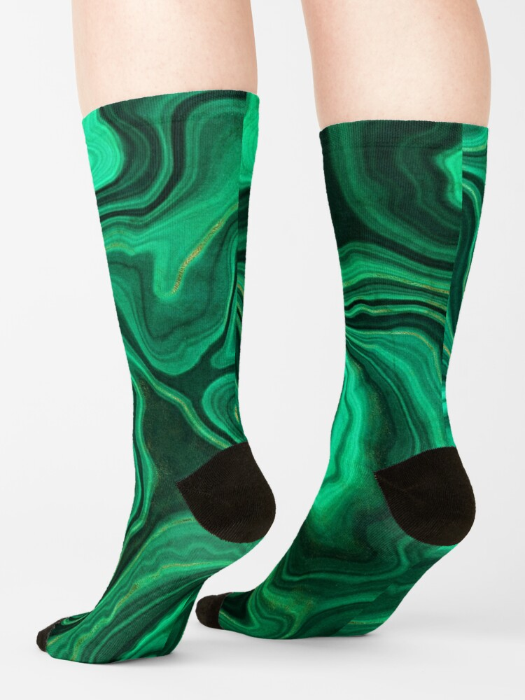 Alternate view of Malachite Green Marble with Gold Veins III Socks