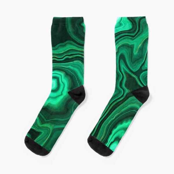 Malachite Green Marble with Gold Veins III Socks