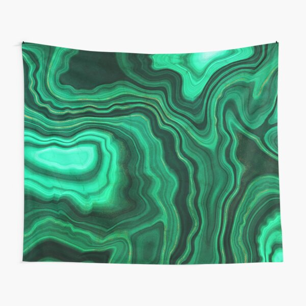 Malachite Green Marble with Gold Veins III Tapestry