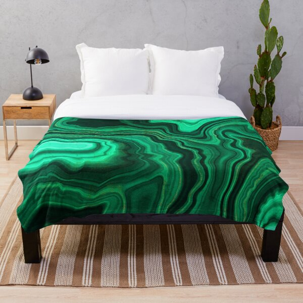 Malachite Green Marble with Gold Veins III Throw Blanket