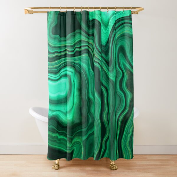Malachite Green Marble with Gold Veins III Shower Curtain