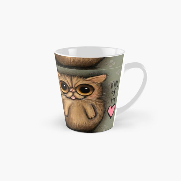 Red persian cat with big eyes and a positive message by Margherita Arrighi Tall Mug