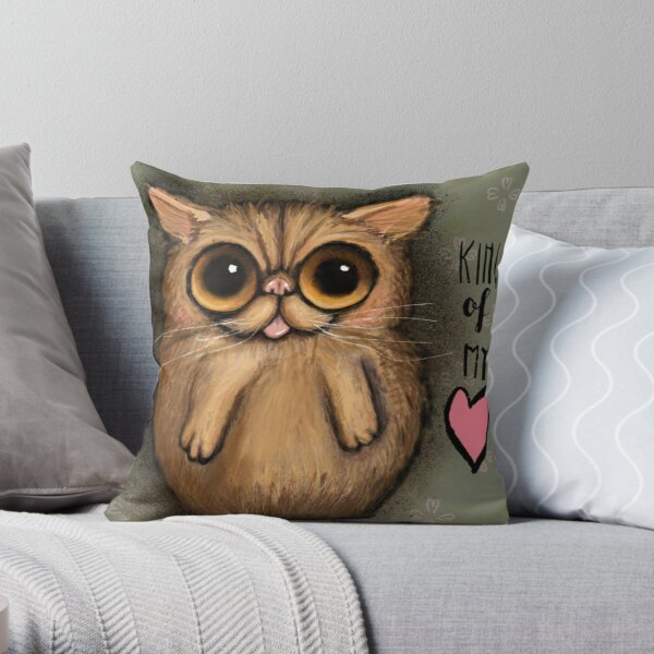Red persian cat with big eyes and a positive message by Margherita Arrighi Throw Pillow