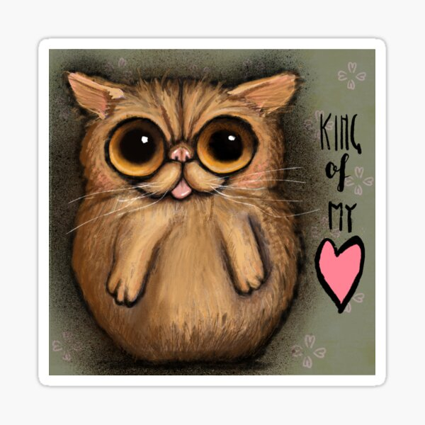 Red persian cat with big eyes and a positive message by Margherita Arrighi Sticker