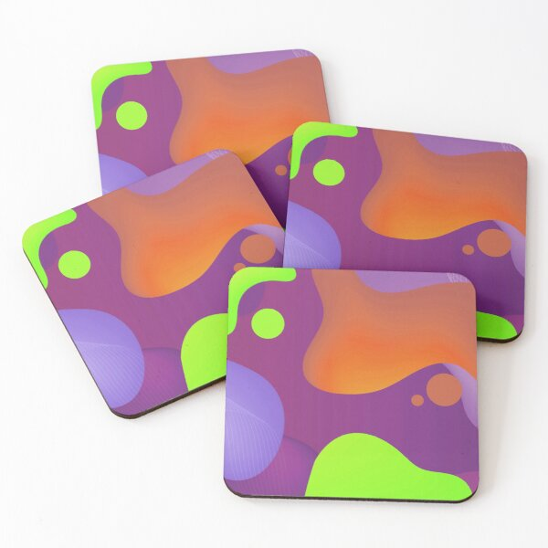 Very Cool, Super Awesome and kind of Pretty Amazing Colorful Abstract Pattern Coasters (Set of 4)
