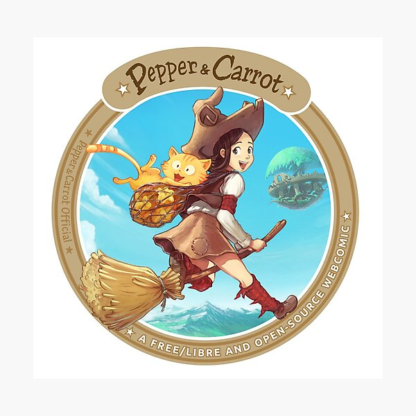 Pepper&Carrot flying with Komona in background - Pepper&Carrot official Photographic Print
