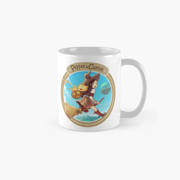 Pepper&Carrot flying with Komona in background - Pepper&Carrot official Classic Mug