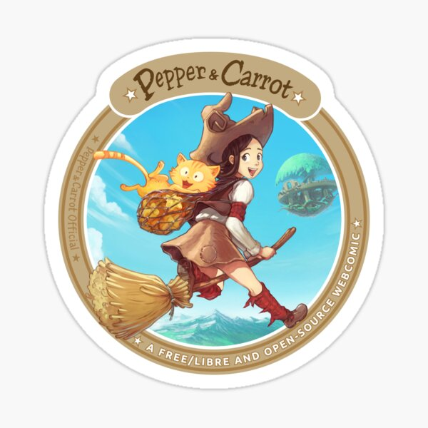 Pepper&Carrot flying with Komona in background - Pepper&Carrot official Sticker