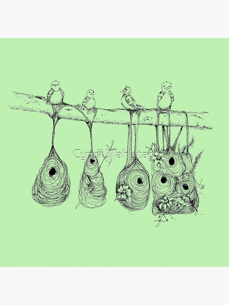 Oriole Nests - No place like home (green) by MeadowBug