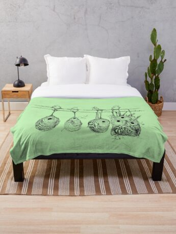 Oriole Nests - No place like home (green) Throw Blanket