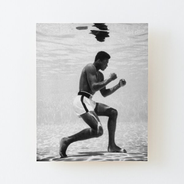 Muhammad Ali Under Water Fighting Position Wood Mounted Print
