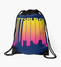 Retro 1980s Pittsburgh City Skyline Drawstring Bag