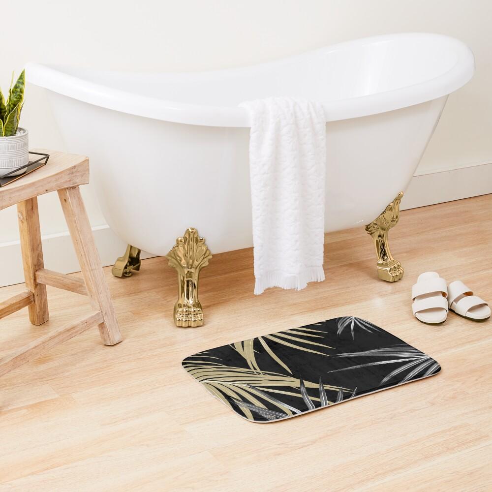 Gold Gray Palm Leaves Dream #1 #tropical #decor #art Bath Mat