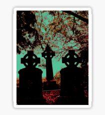 Irish cemetary, Celtic cross - gravestones and headstones, grave marker Sticker