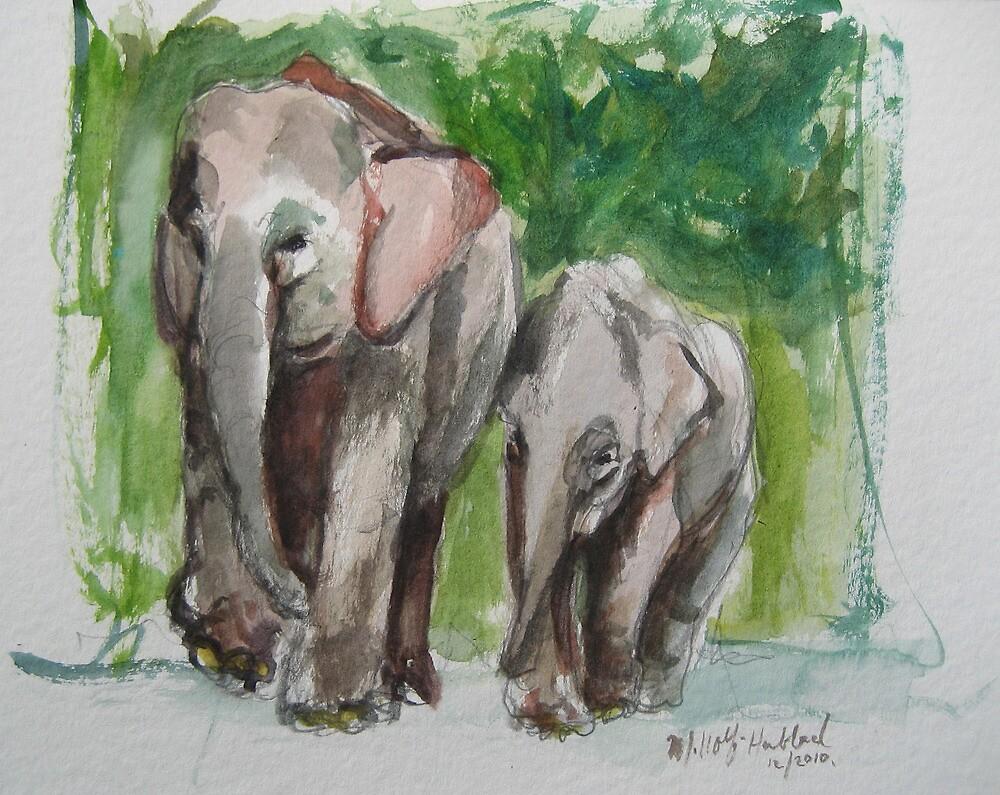 Elephant Mom & Baby by Marcie Wolf-Hubbard