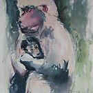 Monkey Mom & Baby by Marcie Wolf-Hubbard