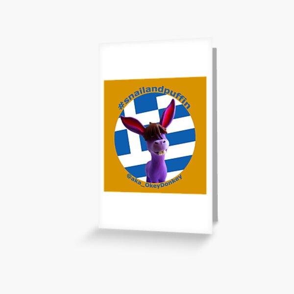 @aka_OkeyDonkey goes patriotic with Greek flag Greeting Card