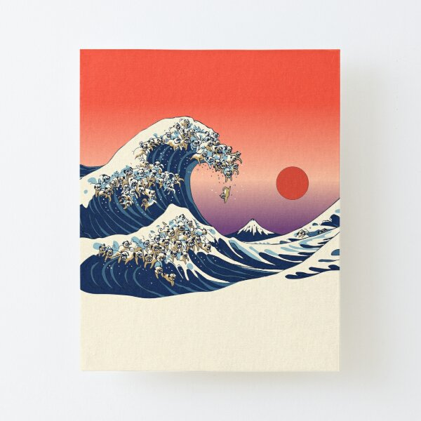 The Great Wave of Pug Canvas Mounted Print