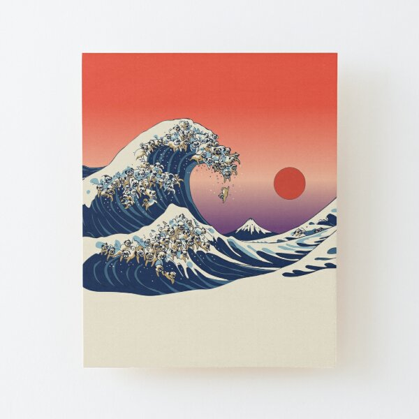 The Great Wave of Pug Wood Mounted Print