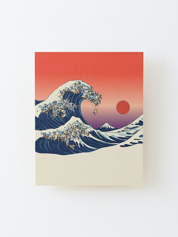 Alternate view of The Great Wave of Pug Mounted Print
