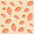 Fall pattern pink mustard oak leaves by by-jwp