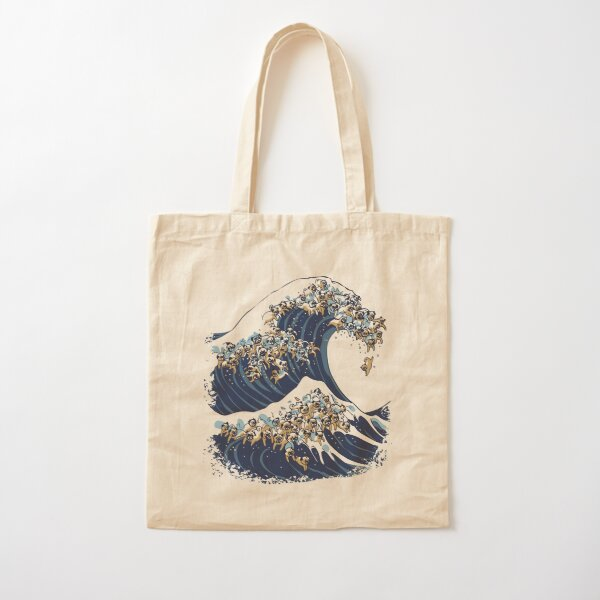 The Great Wave of Pug Cotton Tote Bag