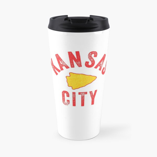 KC Football Tribal Gear Arrowhead Kansas City Vintage Kc Fan Local Pro Gear KC Face mask Kansas City facemask Travel Mug
