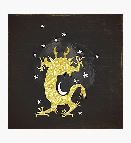 Vintage Cosmos: Golden Dragon Photographic Print