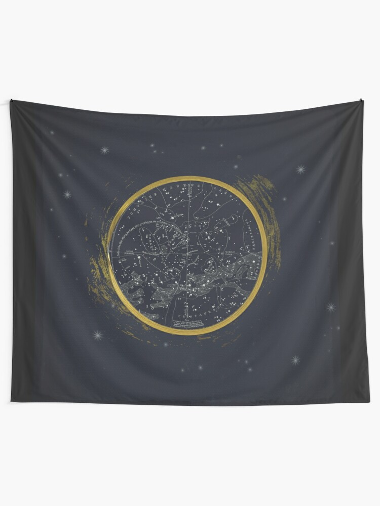 Alternate view of Vintage Cosmos: Star Map Tapestry