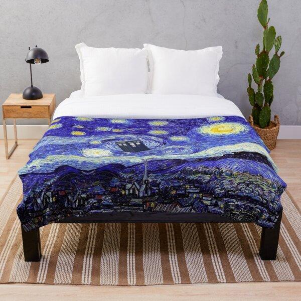 Starry Night Inspiration Tardis Time Machine Throw Blanket