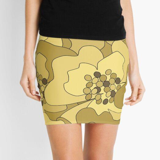 Vanilla Ochre Passion Flowers Mini Skirt