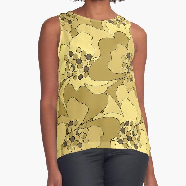 Vanilla Ochre Passion Flowers Sleeveless Top