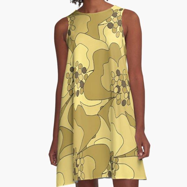 Vanilla Ochre Passion Flowers A-Line Dress