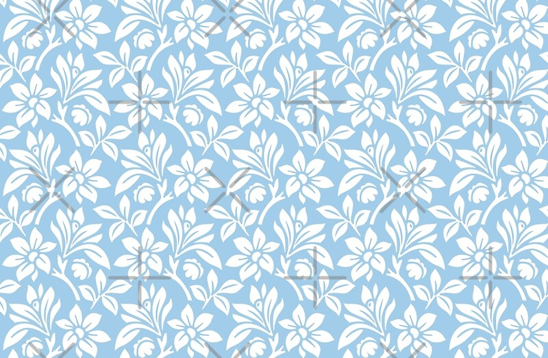 """Light Blue Vintage Wallpaper Style Flower Patterns"