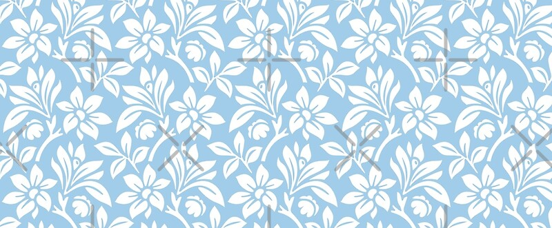 """Light Blue Vintage Wallpaper Style Flower Patterns"" Mugs ..."