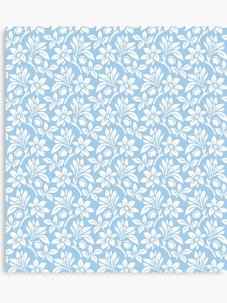 Light Blue Vintage Wallpaper Style Flower Patterns Canvas Print