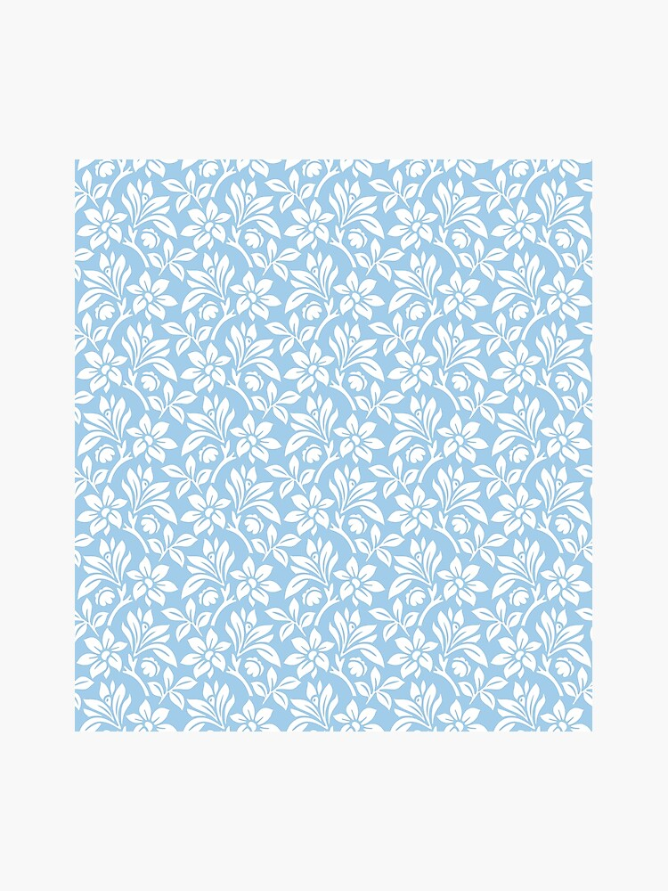 Light Blue Vintage Wallpaper Style Flower Patterns Photographic Print